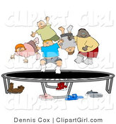 Clip Art of a Happy Multi-Ethnic and Multi-Gender Kids Jumping on a Trampoline Together While Playing by Djart