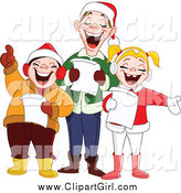 Clip Art of a Happy Singing Family at Christmas Time by Yayayoyo