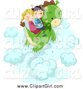 Clip Art of a Happy Stick Kids Flying on a Dragon by BNP Design Studio