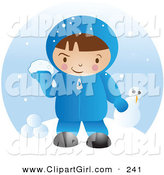 Clip Art of a Little White Boy in Winter Clothing, up to Mischief and Preparing to Throw Snowballs After Making a Snowman on a Winter Day by Vitmary Rodriguez