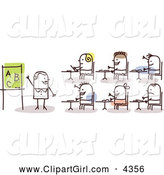 Clip Art of a Stick Woman Teacher and Students by NL Shop