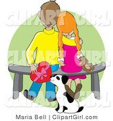 Clip Art of a Sweet Boy Sitting on a Bench Beside His Red Haired Girlfriend Who Is Resting Her Head on His Shoulder near Her Dog by Maria Bell