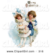 "Clip Art of a Sweet Vintage Valentine of a Boy Wrapping His Girlfriend in a White Daisy Flower Garland with ""To My Valentine"" Text, Circa 1890 by OldPixels"