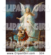 Clip Art of a Touching Vintage Valentine of a Female Guardian Angel Protecting a Little Girl and Her Brother As They Cross over a River on a Narrow Broken Bridge, Circa 1890 by OldPixels