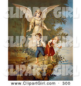 Clip Art of a Touching Vintage Valentine of a Female Guardian Angel Watching over a Little Boy and Girl As They Pick Flowers and Chase Butterflies at the Edge of a Cliff, Circa 1890 by OldPixels