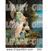 Clip Art of a Touching Vintage Valentine of a Female Guardian Angel Watching over Two Little Children As They Play with a Ball and Hoop at the Edge of a Cliff, Circa 1890 by OldPixels