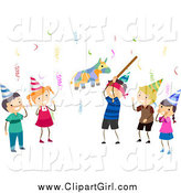 Clip Art of Birthday Kids and a Pinata by BNP Design Studio