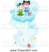 Clip Art of Happy Kids Fishing for Sea Shells on a Cloud by BNP Design Studio